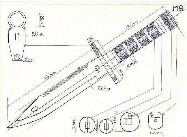 штык-нож кс го чертеж