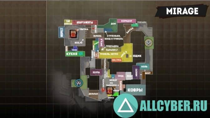 Карты с обозначениями в кс го