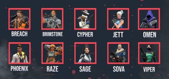 Список всех агентов в valorant